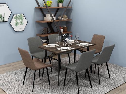 悦尚家 意式轻奢 长餐桌 胡桃色 1.2米 亮光金色连杆 黑砂碳素钢框架