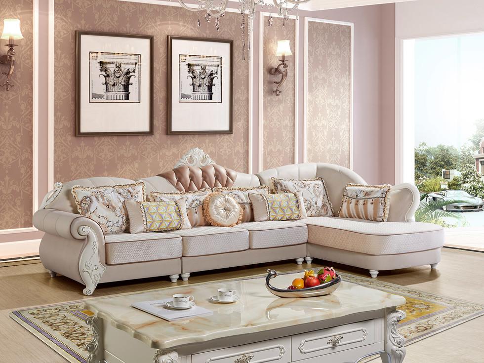【红菲】舒适科技布稳固承重橡胶木沙发脚 欧式风格沙发组合(1+3+左贵妃)