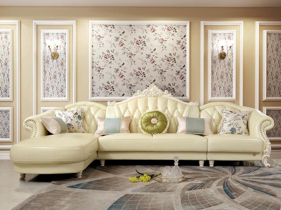 【玛蒂梦】头层真皮转角沙发 弧度有型 设计感强 1+3+贵妃组合沙发