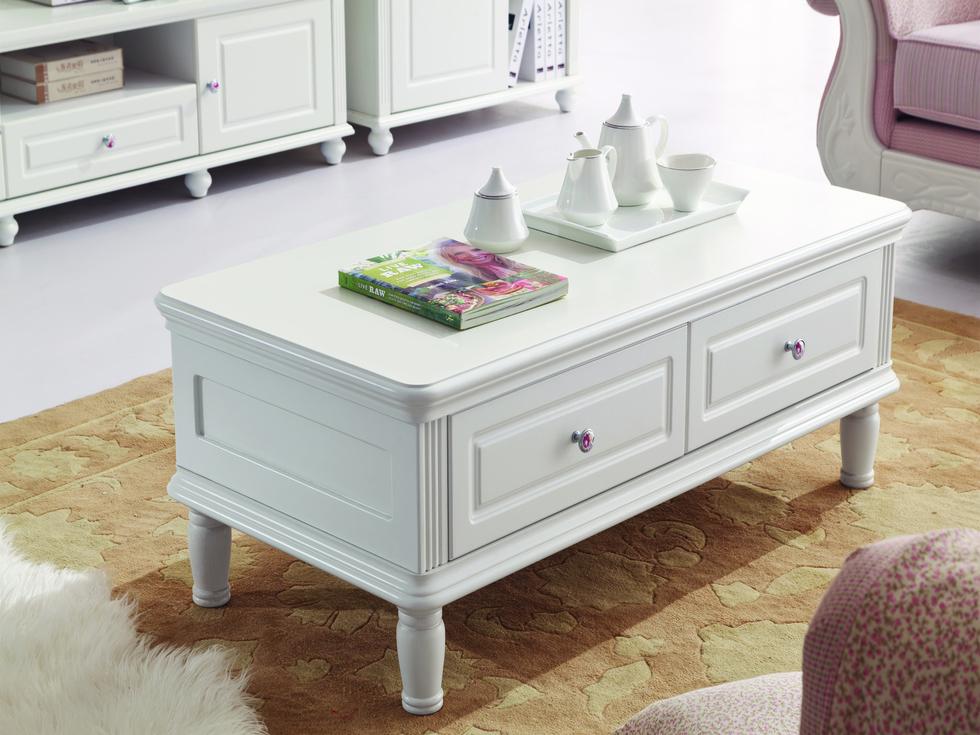 【东方茉莉】韩式简约实用风格 双层抽屉 S型承重桌脚 韩式风格1.2米长茶几