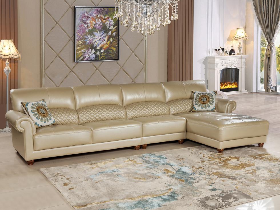 【名思克】简美风格时尚休闲高档头层珠光黄牛皮腰位设计坐感舒适组合转角沙发(1+3+左贵)