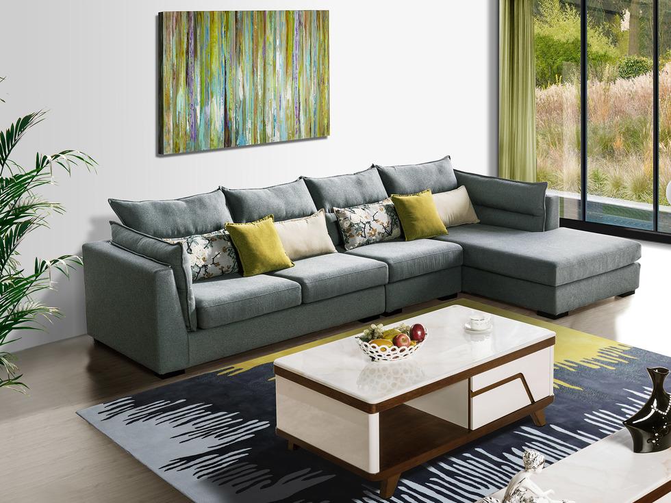 【法莱顿】高端现代 亲肤透气进口棉麻布 时尚舒适沙发组合(1+3+左贵妃)
