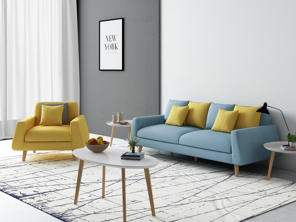 【宾缔】北欧宜家布艺沙发 进口乳胶 布艺沙发 透气棉麻 可拆洗小户型客厅(黄色单位+浅蓝色三位)