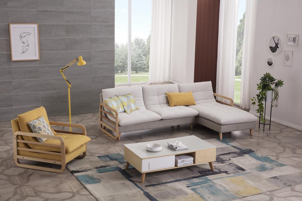 【优殿】舒适透气棉麻布  北欧风格实木沙发3+右贵妃