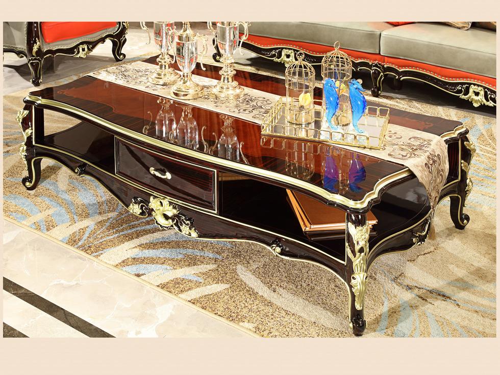 【欧美公馆】黑檀新古典 实木雕花钢琴烤漆 手工描香槟金 拉黑檀丝工艺茶几
