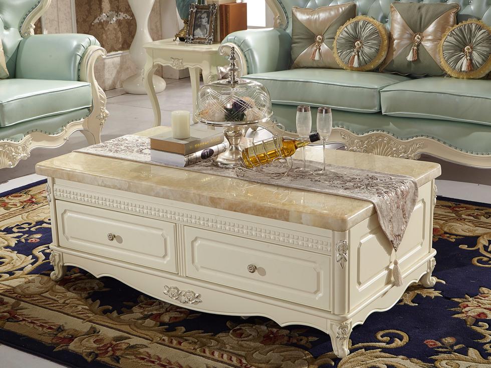 【芭黎玫瑰】精选优质天然黄玉石面板 结构坚固法式风格茶几