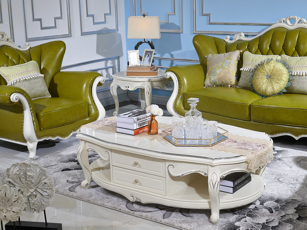 【玛蒂梦】时尚欧式简约木质框架 精致雕刻 A50茶几