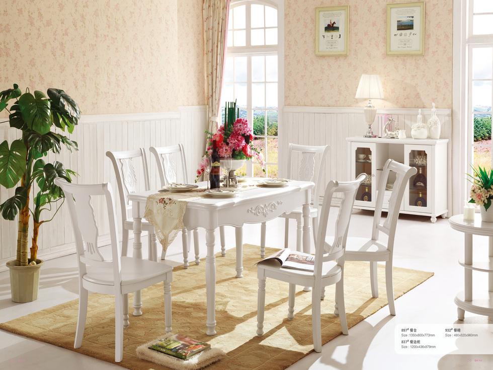 【东方茉莉】精美立体手工描银雕花 简约大气韩式风格长餐桌
