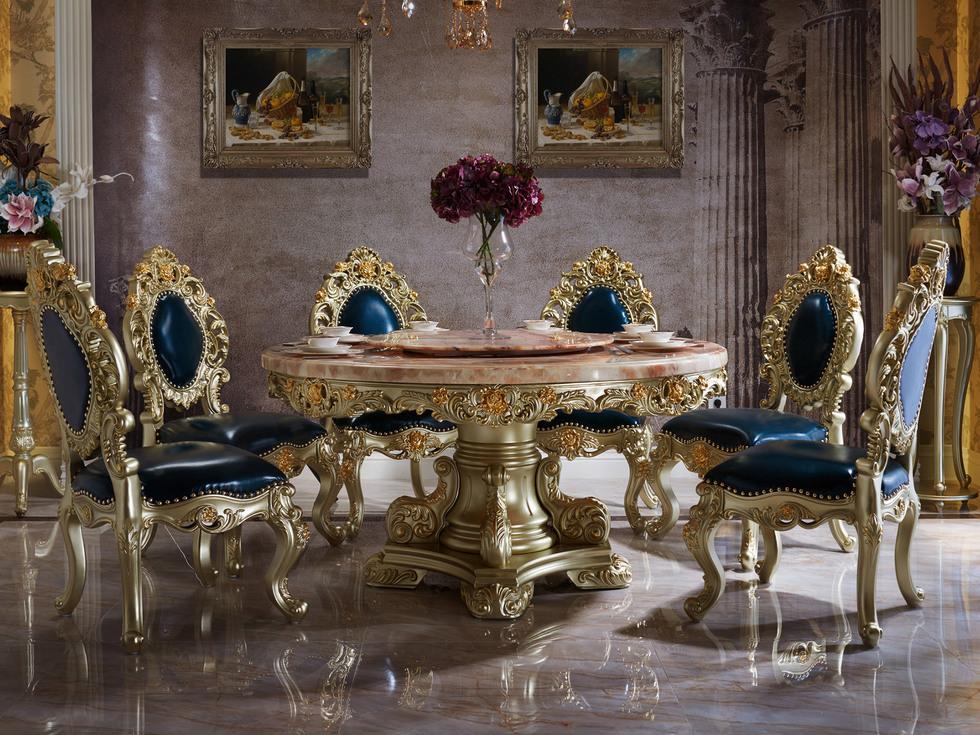 【欧美公馆】天然大理石 进口俄罗斯桦木 法式风格圆餐桌