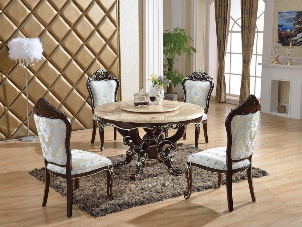 【红菲】高档天然红龙玉大理石面 结构坚固实木框架 奢华大气欧式风格圆餐桌