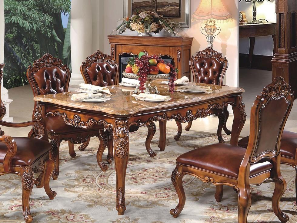 【精美家】进口桃花芯木  天然雨林啡大理石 易清洁 奢华美式风格 实木餐桌长餐桌 餐厅餐台