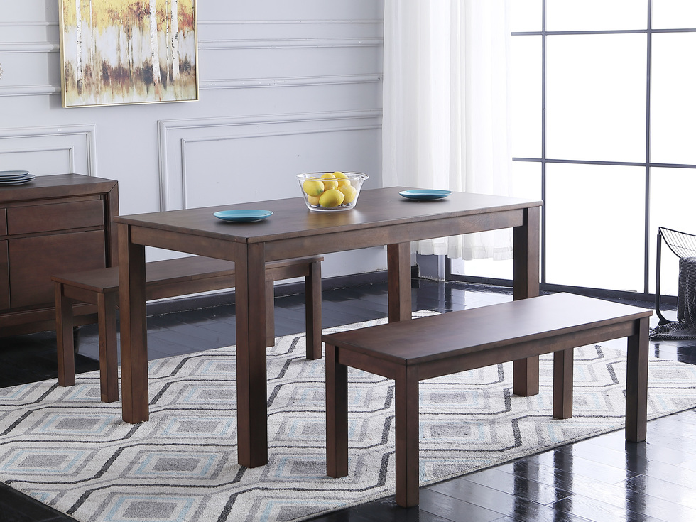 恩嘉依 现代纳维亚风格 马来西亚原装进口 稳固耐用实木餐桌椅 现代简约条凳(1桌两椅)