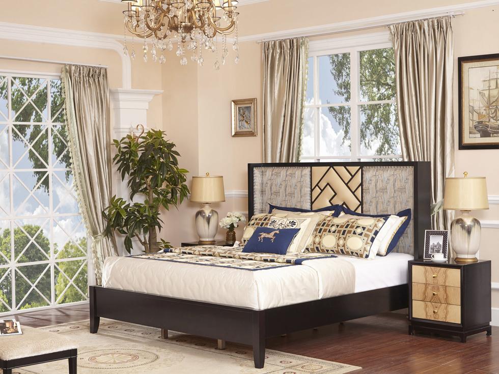 【曼哲斯帝】健康舒适高精密绣花布软包 结构坚固榉木框架 传统典雅新中式风格1.8米床