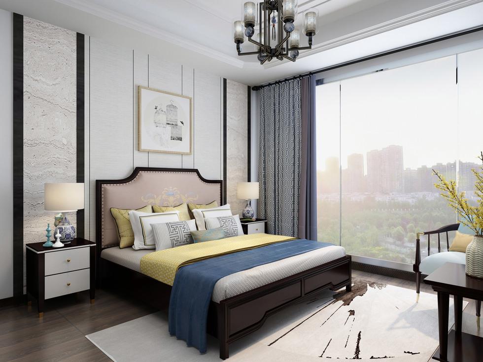 【曼哲斯帝】结构坚固榉木框架 手工刺绣图案 高精密绣花布软包床头 典雅奢华新中式1.8米大床