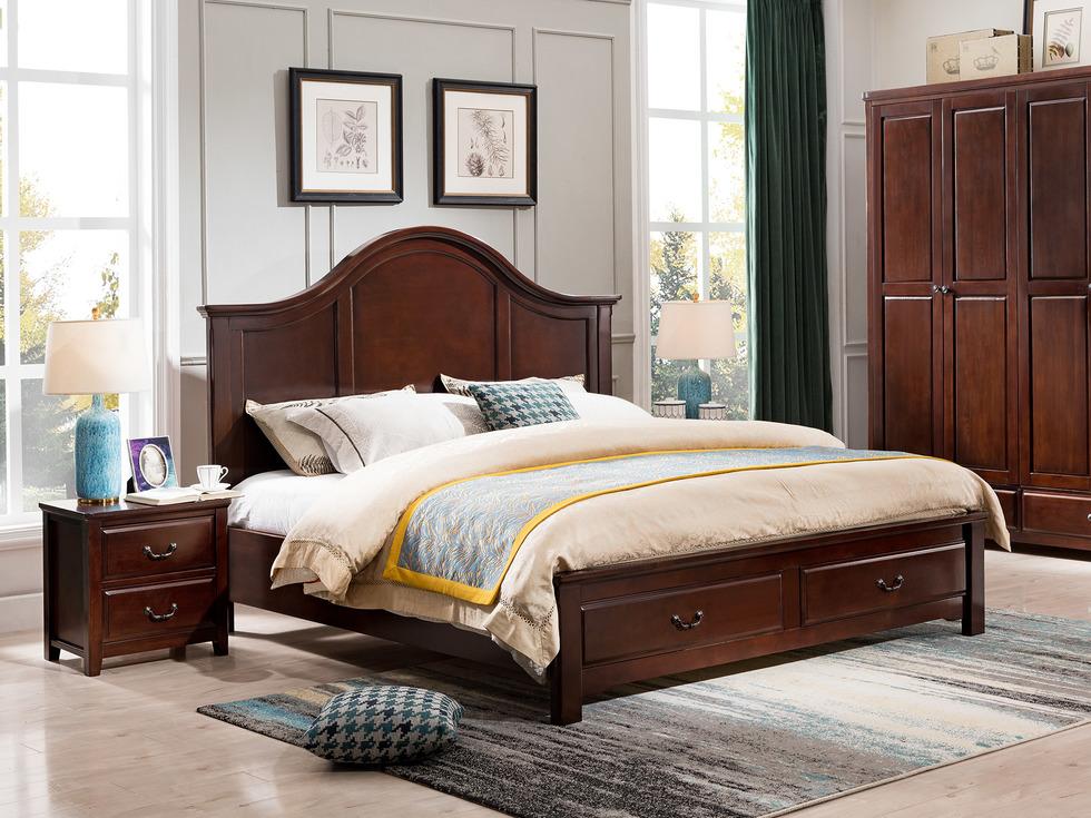 【精美家】进口北美楸木床 坚韧耐磨 美式简约乡村风格双人床 简美风格 1.8米床