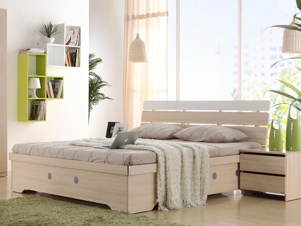 恩嘉依 现代风格 清新阳光 环保实用 E1级MDF板材 1.8米三格储物高箱床