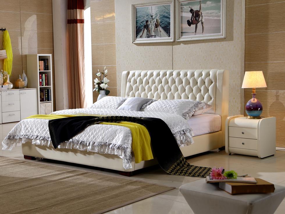 【艾沃】现代风格1.8米床真皮软床双人床(米白色)