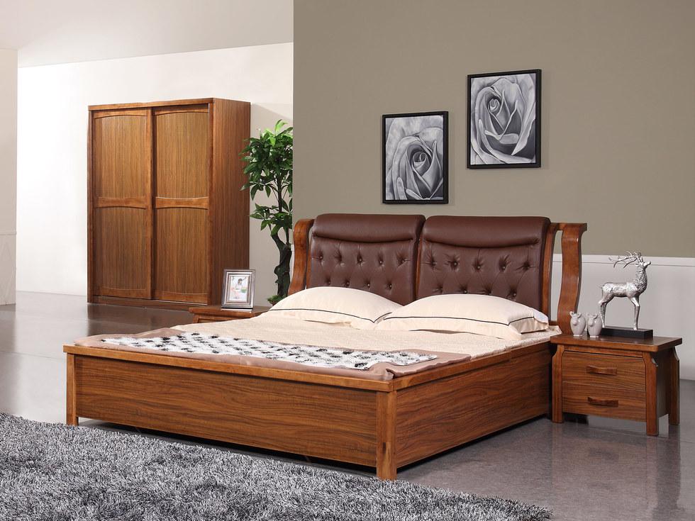【森匠】亲肤舒适为二层黄牛皮软包 中式风格1.8米高箱床