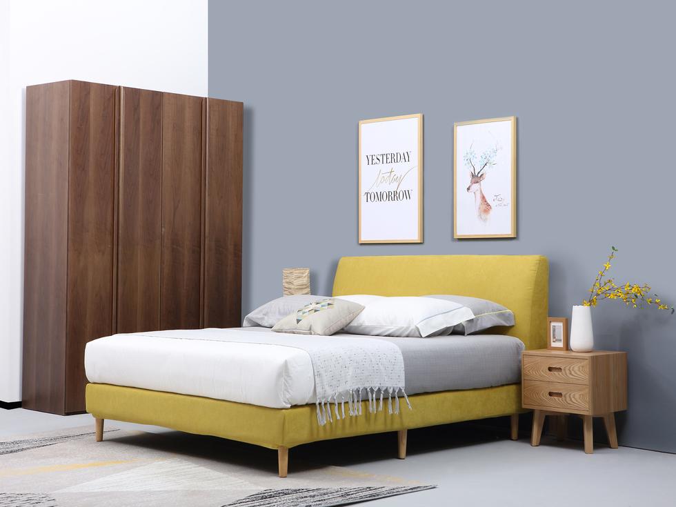 【INCHEE原治】北欧风格 现代简约  布艺床 1.5米双人布艺床 可拆洗 小户型  简易软体床