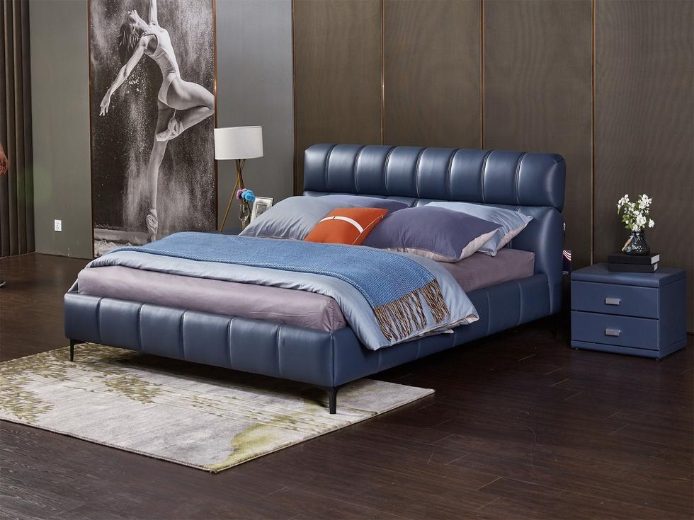 【雅蕾斯】现代极简 舒适透气 头层黄牛皮 真皮床 大气时尚 1.5米大床