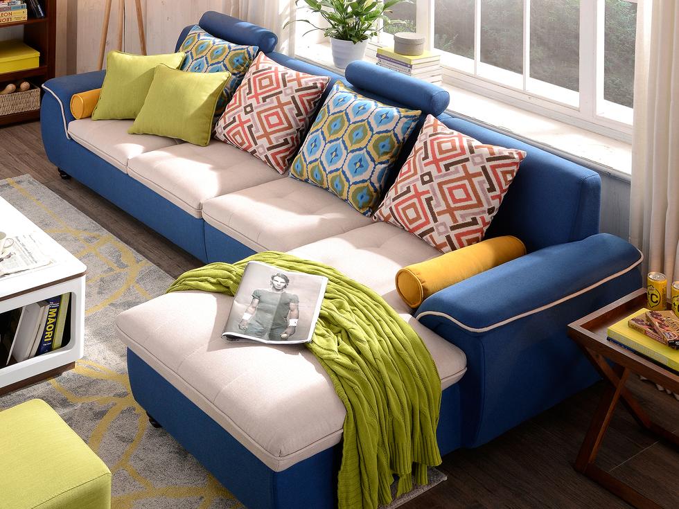 【纳德威】布艺沙发组合小户型简约靠枕可升降功能客厅家具蓝色1+3+左贵妃购买整套沙发送400*400*450方凳一个