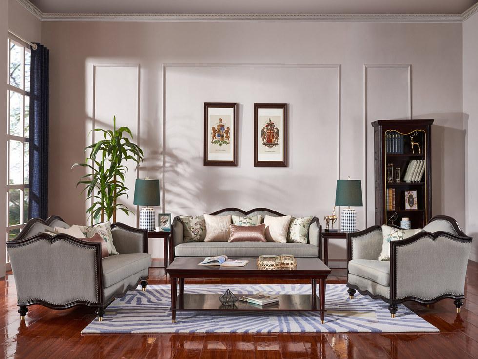 【曼哲斯帝】柔软舒适高精密布软包 结构坚固实木框架 奢华典雅新中式风格沙发组合(1+2+3)