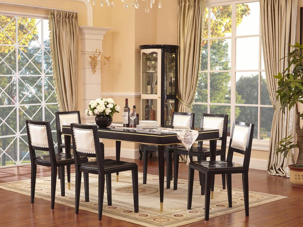 【曼哲斯帝】珍贵榉木 金色边框勾勒 利落铅笔形桌脚 新中式风格1.6米长餐桌