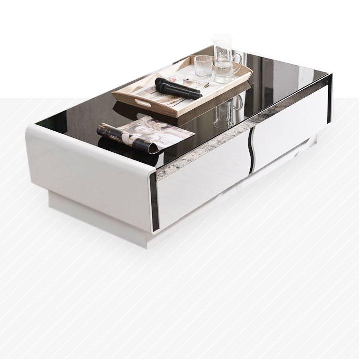 【纳德威】优质钢化玻璃面 现代时尚黑白茶几