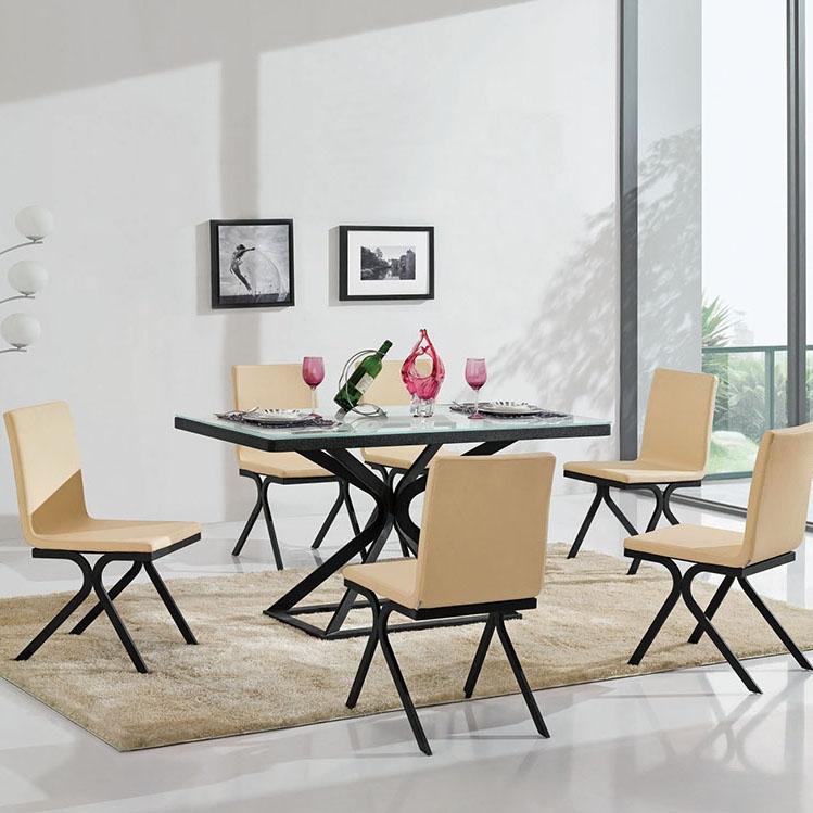 【简非】钢化超白玻烤漆工艺 A3碳素钢喷水纹黑油漆 餐台 餐椅 CT309/CY309