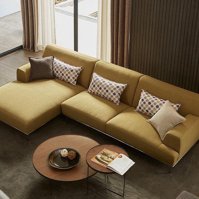 【纳德威】实木框架 透气棉麻布料 现代简约风格组合草绿色右方向(3+右贵妃)