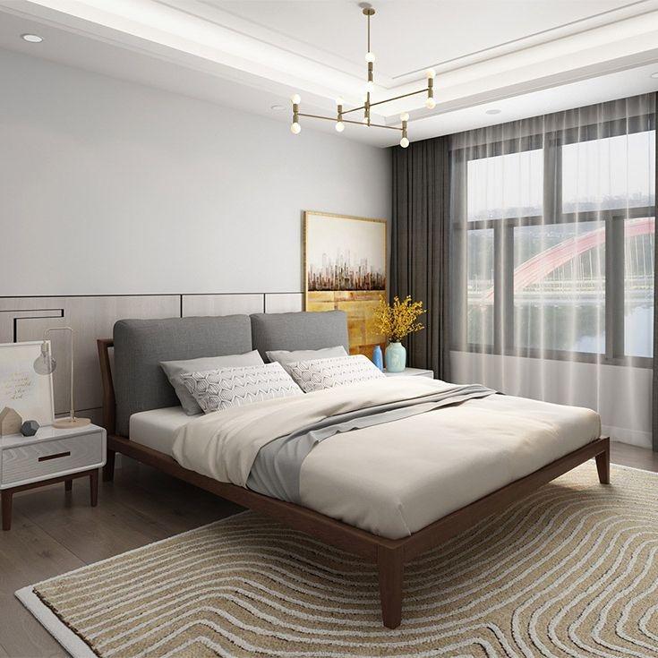 【优殿】北欧风格 白腊木 全实木1.5米 1.8米布艺床 简约卧室家具