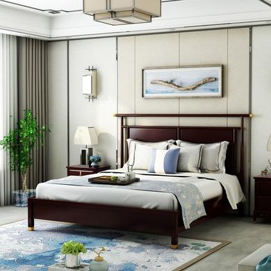【邦美森】金丝檀木 简奢新中式 1.8米床 新中式风格双人床