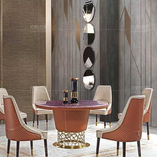 【拉帕拉尼】现代·轻奢 餐台 拉丝不锈钢+紫色贴花饰板 L-CT021