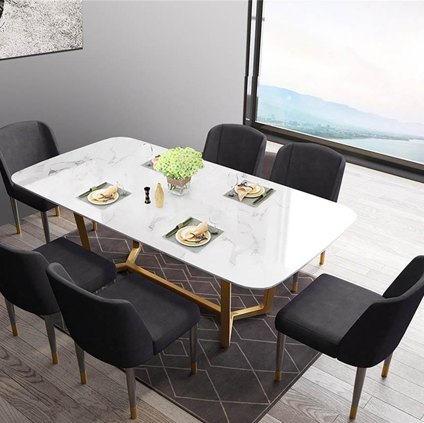 欧瑞家具 简约大理石餐桌 轻奢格调镀金底架长方形餐桌