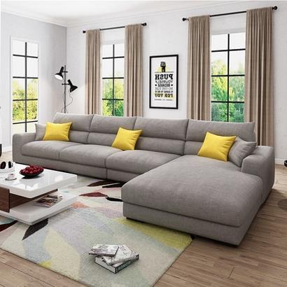 【宾缔】 北欧沙发 实木框架进口乳胶颗粒 透气棉麻布料 现代转角布艺沙发组合