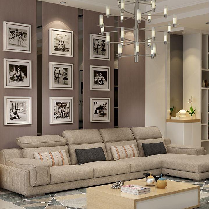 【纳德威】北欧宜家布艺沙发组合小户型简约 靠枕可调节客厅家具卡其色 1+3+左贵妃
