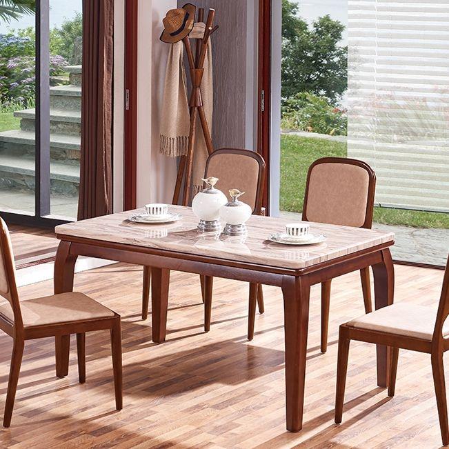 【纳德威】高档气派人造大理石面 全实木框架(白蜡木为主)新中式餐桌1.4米
