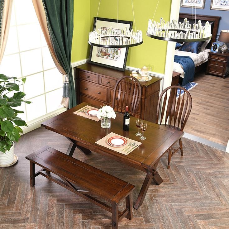 【丹饰林】 进口北美红橡  美式风格 1.4米长餐桌 浅咖色 嘉宝莉环保油漆