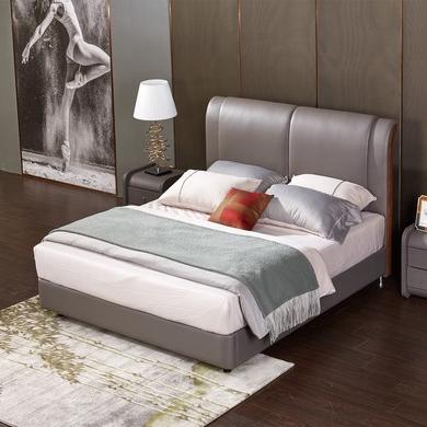 【雅蕾斯】进口头层黄牛皮 简约时尚齐边小款床 现代风格1.8米双人床