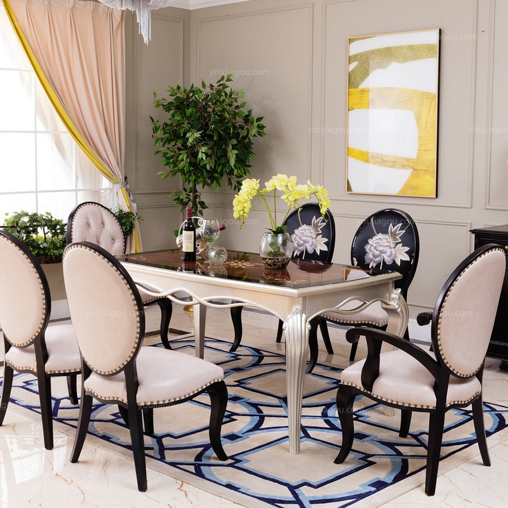 【博洛妮亚】进口桃花芯实木仿古银长餐桌拼花面1.6米(图片仅作参考