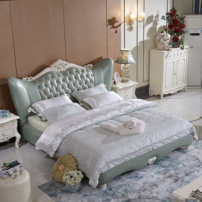 【玛蒂梦】欧式现代真皮床 高档卧室软床 实木软皮主卧双人1.8米床